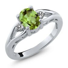 1.40 Ct Oval Green Peridot and White Diamond 925 Sterling Silver Women's Ring