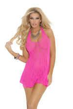 Mini Dress Lace Halter G-String Black Red White Blue Pink Nylon ELEGANT MOMENTS