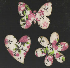 12 Wooden Flowers Butterflies hearts shabby chic vintage floral Card Making