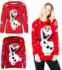NEW WOMENS LADIES NOVELTY OLAF FROZEN CHRISTMAS TOP XMAS JUMPER SWEATER