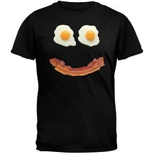 Mr. Happy Smiley Face Bacon And Eggs Black Adult Mens T-Shirt