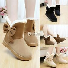 Winter Womens Mid Calf Bowknot Solid Pearl Velvet Snow Boots Shoes Hot DZ88