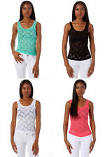 Womens Ladies Lace Front Tank Top Trendy Casual Basic
