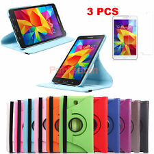 """Samsung Galaxy Tab4 T230 7""""Rotating PU Leather Case Cover+Clear Screen Protector"""