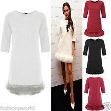 LADIES CELEB VICTORIA FAUX FUR TRIM 3/4 SLEEVE SHIFT FLOAT SHORT MINI DRESSES