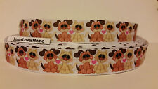 """Grosgrain Ribbon, Puppy Dogs & Kitty Cats with Big Eyes, Pink Hearts, 7/8"""" Wide"""