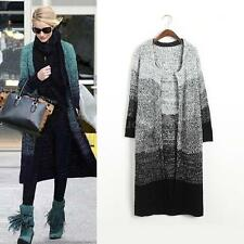 Women Shawl Tops Long Jacket Coat Knit Cardigan Sweater Coat Gradient Knitwear
