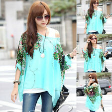 1PC Bohemia Women Floral Batwing Chiffon Loose T-Shirt Blouse Top Cheap