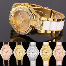 Fashion Lady New Style Crystal Analog Black Gold Womens Mens Quartz Wrist Watch