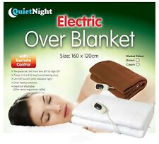 QUITE NIGHT CREAM/ BROWN ELECTRIC WASHABLE HEATED OVER THROW BLANKET 9 SETTINGS