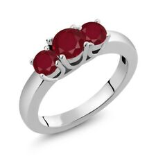 1.15 Ct Round Red Ruby 925 Sterling Silver Ring