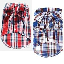 Cute Blue Red Pet Dogs Cats Plaid Style Costumes Cloth Apparel Size S/M/L Lovely