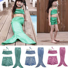 Girls Kids Mermaid Tail Swimmable Swim Costume Fancy Dress Swimsuit Bikini set