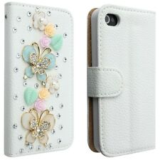 White 3D Crystal Flip Wallet Stand Leather Case Cover for iPhone 4 5 Samsung S4
