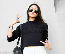 Alexander Wang H&M Black Short Cropped Scuba Top XS S New! Bloggers Fav!