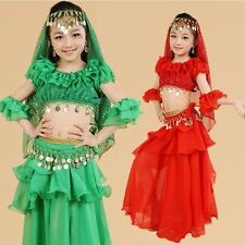 Kids Girls Belly Dance Costume Outfit Top Skirt Bollywood Halloween Indian Dance
