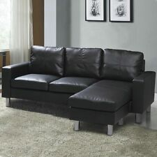 Modern Compact L Shaped Corner Sofa Settee Black Faux Leather or Grey Fabric