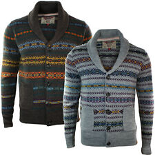 Mens Aztec Button Wool Knitted Chunky Cardigan Jumper Brown Grey Shawl Collar