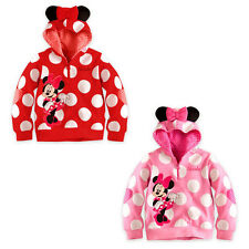 Baby Girls Kids Lovely Minnie Mouse Dot Ear Hoodie Sweatshirt Tops Coat 1~6Years