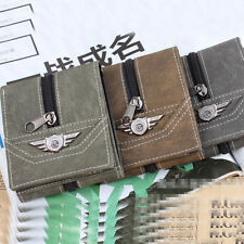 Men Boys Fashion Combat Zipper Decoration Wallet Tri-fold Card Credit Car No64VP