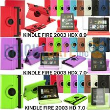 "Amazon Kindle Fire 2013 HDX 7"" 8.9"" HD 7"" Leather 360 Rotating Smart Case +Film"