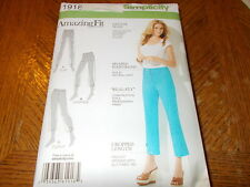 Simplicity Pattern 1918 Ms AMAZING FIT Cropped Pants in Slim, Avg, Curvy Fits