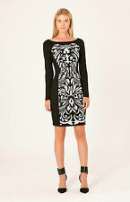 NEW Hale Bob Fitted Floral Dress Long Sleeve Black XXS XS S RET $269 3DTC6240