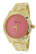 Limited Edition Ladies Gold Oversized Boyfriend Metal Watch Hot Pink Royal Turq
