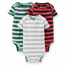 New Carter's 3 Pack Boy Striped Bodysuits NWT Size  3 6 9 12 18 24m