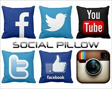 """14"""" Satin Hold Cushion Case Social Network Pillow face selfie You Tube twitter"""