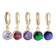 Fashion Gold Plated Hoop Dangle Round Rhinestone Stud Earrings Women Lady Gift
