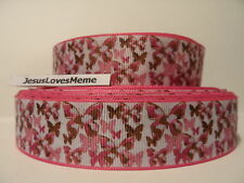 """Grosgrain Ribbon, Pink Camo Butterflies with Pink Border, Butterfly Ribbon, 1"""""""