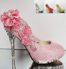 newWomen Shoes Glitter Gorgeous Wedding Bridal Evening Party Crystal High Heels