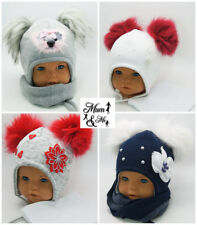 NEW Kids Toddler Girls Hat Tie Up Winter Hello Kitty Cap with Scarf Warm Wool