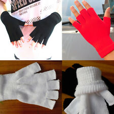Women Winter Solid Color Fingerless Half Fingers Warm KnitMagic Gloves Mittens