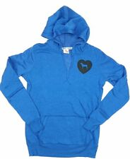 Junior Women's Love Pink Hoodie Victoria's Secret Royal Blue Heart Dog