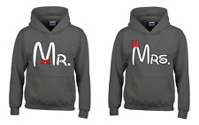 Mr and Mrs Matching Couple Hoodie - His and Hers -Husband and Wife Couple (Gray)