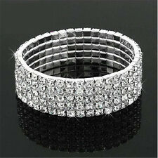 Charming Crystal Rhinestone Stretch Bracelet Bangle Wedding Bridal Wristband