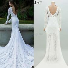 Fashion Women's Mermaid Lace Formal Wedding Bridal Dress White Size 6 8 10 12