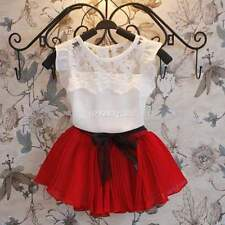 New Kids Girl Children Lace Tops Vest+ Mini pleated Skirt Dress With Belt SA88