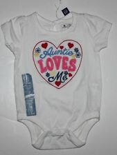 "baby Gap NWT Girl's 0 3 6 12 Mo. Embroidered Aunt Bodysuit Top ""Auntie Loves Me"""