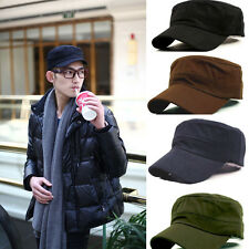 High Class Classic Plain Vintage Army Military Cadet Style Cotton Cap Hat New
