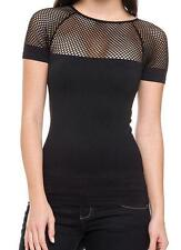 Sexy Black Net Cut Out Moto Biker Backless Mesh Rave Glam Seamless Top New o/s