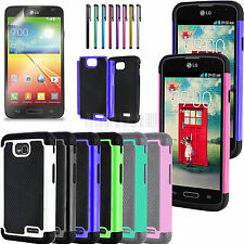 Heavy Duty Hybrid Hard Armor Impact Rugged Case Cover For LG Ultimate 2 L41C+LCD