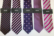 Hugo Boss Silk Necktie Tie Made in Italy $95 Pink Blue Black Striped Floral NWT