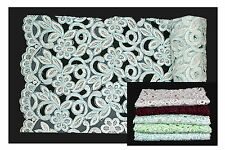Unotrim White Blue Green Pink Burgundy Beaded Corded Embroidery Scalloped Fabric