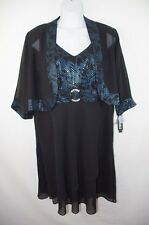 Le Bos NEW 2pc Black Chiffon Jacket Dress Cocktail Special Occasion Plus 24  24w