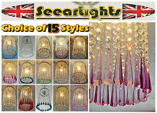 * CHROME CHANDELIER LIGHT WATERFALL GLASS CRYSTALS COLOUR DROPS VINTAGE CHIC STY