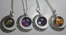 "Woman's Silver Tone Necklace 18"" Crescent Moon Galaxy Universe Pendant You Pick!"