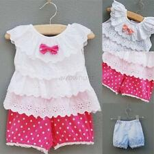 Lovely Toddler Baby Girl Ruffled Tops Clothes+Dots Pants 2pcs Outfits Suits Sets